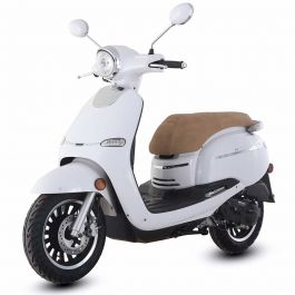 "TrailMaster 2018 Turino 50A 50cc Moped Scooter with Retro Stylish Design, 12"" Wheels, Electric/Kick Start! Fully Assembled! Free Shipping!"