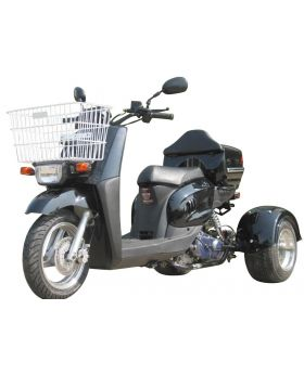 Pro Ice Bear Mini Cruzzer 49cc Trike Scooter (Fully Automatic Transmission, Air Cooled, Differential Gear, Front/Rear Disc Brakes, Aluminum Rims, Tow Hitch included, Metallic Paint, Free Front Basket and Rear Cargo Trunk)
